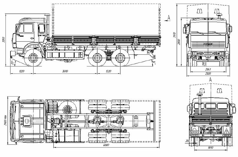 Габариты КамАЗ-53212